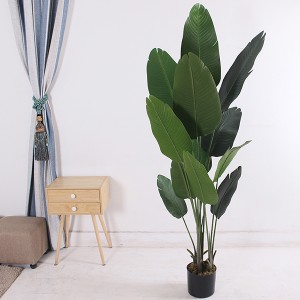 Artificial Travelers Banana Tree Plastic Birds of Paradise Plants With Pot