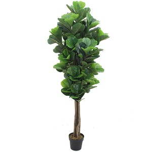 6ft artificial fiddle fig leaft tree for Amazon hot sale plastic fiddle tree with natural wood trunk real touch leaves for decor