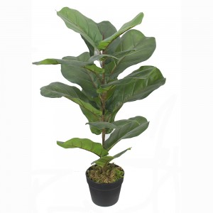 [Copy] artificial fiddle fig leaft tree for Amazon hot sale plastic fiddle tree with natural wood trunk real touch leaves for decor