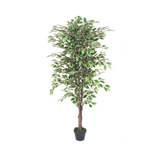 Latest product plants artificial garden decorative landscaping white edge leaves green ficus banyan tree