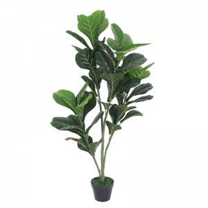 artificial fiddle fig leaft tree for Amazon hot sale plastic fiddle tree with natural wood trunk real touch leaves for decor