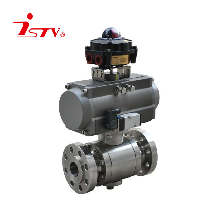 Forged steel 3-PCS peumatic ball valve