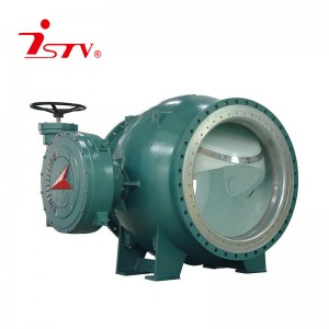 Gear operated eccentric semi-ball valve