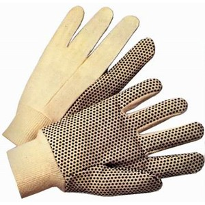 Cotton Canvas Knit Protection Work Gloves with Black PVC Dots