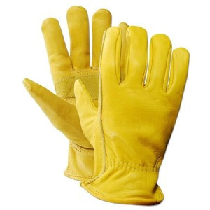 Cow Grain Leather Work and Driver Gloves with Cow Split Leather Palm Patch