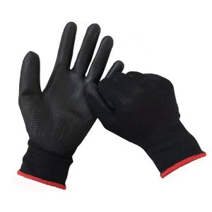 Black Pu Work Gloves Safety Gardening Working Gloves Ultra-Thin Breathable Grip Glove