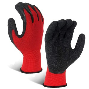 Crinkle Latex Rubber Hand Coated Safety Work Gloves