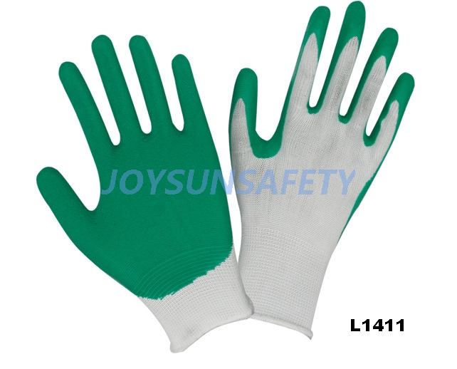 L1411 latex coated gloves 13 gauge nylon liner
