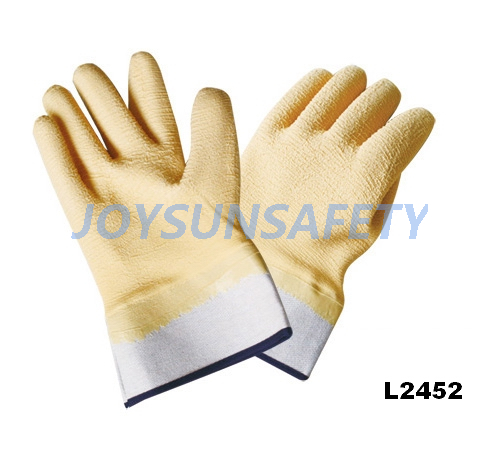 Fixed Competitive Price Types Of Welding Gloves - L2452 latex coated gloves gauntlet cuff – Joysun
