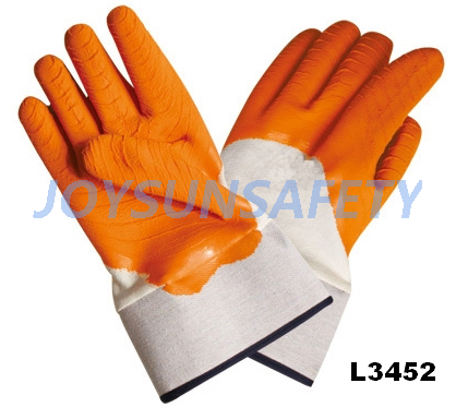 L3452 latex coated gloves safety cuff