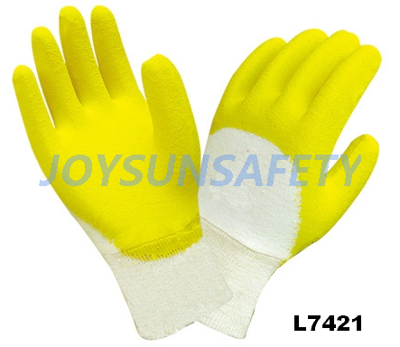 L7421 latex coated gloves