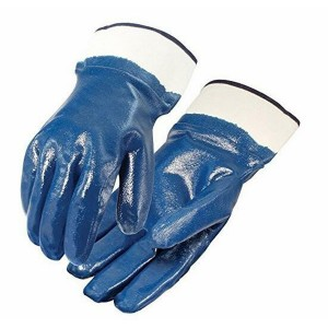 Blue Nitrile Coated Gloves Smooth Finish Safety Cuff