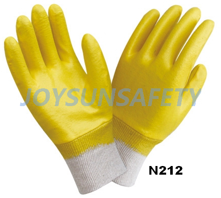 N212 Nitrile coated gloves jersey or interlock liner