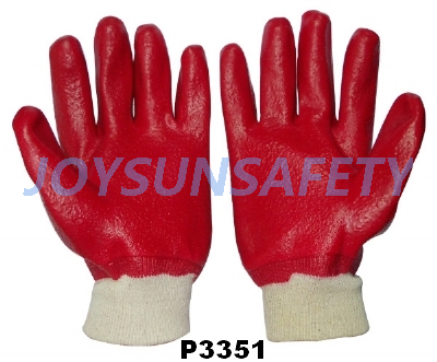 P3351 PVC coated gloves rough finished
