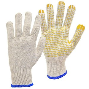 Natural white / blue PVC-Dotted String Knit Gloves