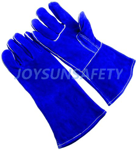 Factory wholesale Sweat Proof Gloves - WCBB02 blue welding leather gloves straight thumb – Joysun