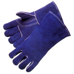 blue long leather fire resistant welding gloves