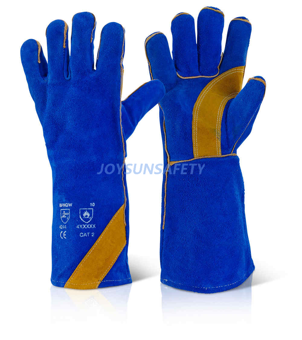 WCBB07 blue welding leather gloves reinforced palm