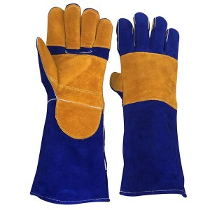 Fire and Heat Resistant Long Leather Welding and Fireplace Safety Gloves