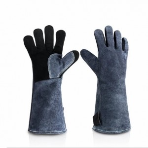 Fire Resistant Long Leather Gloves Fireplace Safety Gloves