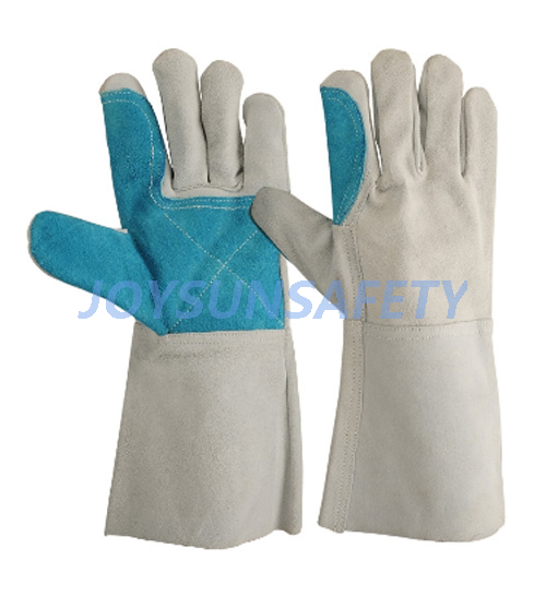 Ordinary Discount Sweat Resistant Gloves - WCBN03 grey welding leather gloves double palm – Joysun