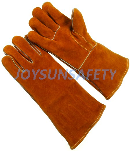 Wholesale Price China Extra Long Cuff Nitrile Gloves - WCBY02 brown welding leather gloves straight thumb – Joysun