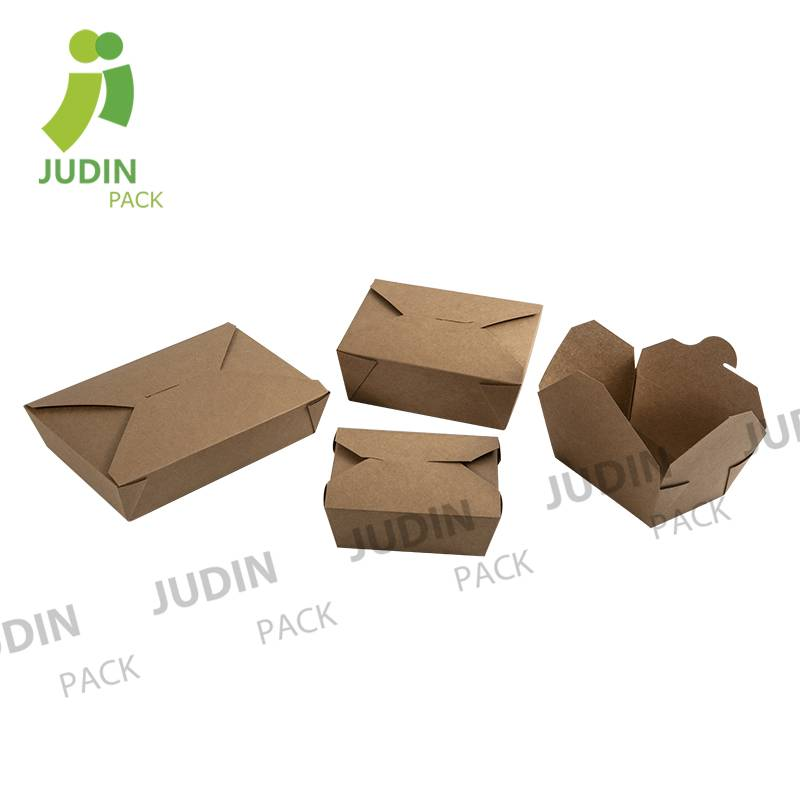 Custom Disposable Food Paper Container Kraft Paper Take out Lunch Box