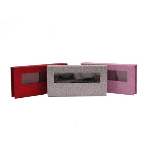 Rectangle Glitter Paper Eyelash Box With Pvc Window