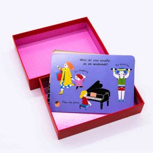 Chinese cardboard full color educational flash cards printing with round PP ring
