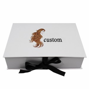 Hot-selling Box Cardboard Window - White Clamshell Wig Box With Ribbon – Knowledge Printing