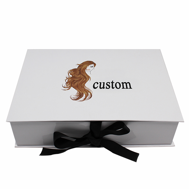 Cheapest Price Hardcover Print On Demand - White Clamshell Wig Box With Ribbon – Knowledge Printing
