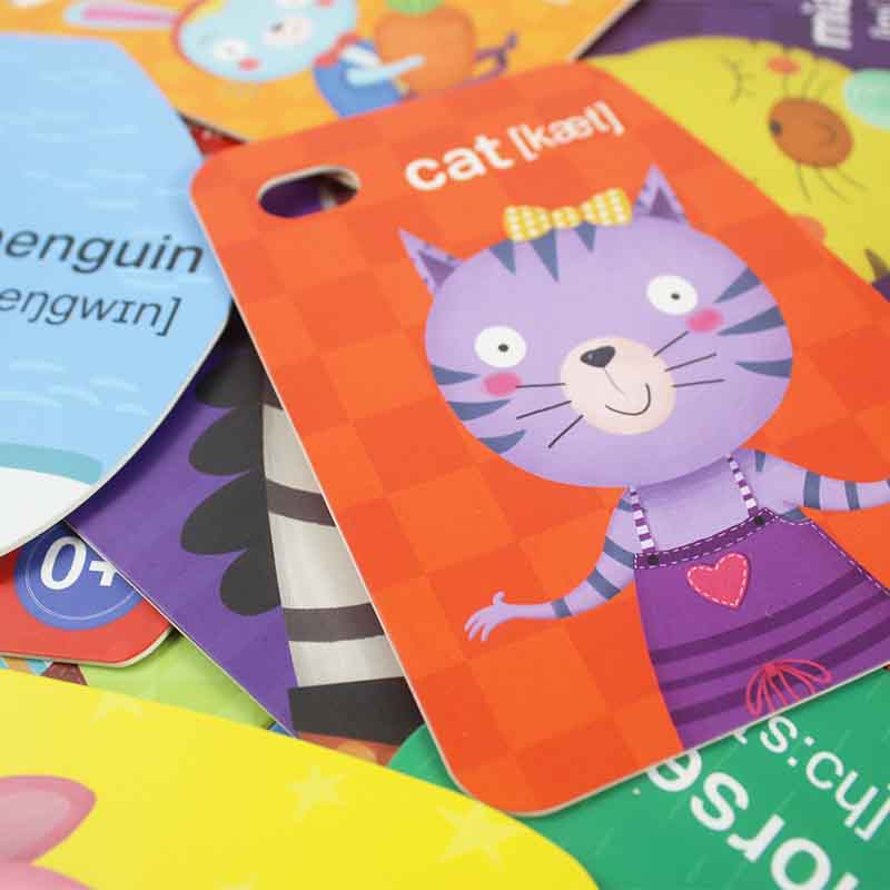 Wild Animals Flash Cards - custom baby kids children english abc flash cards alphabet with ring – Knowledge Printing