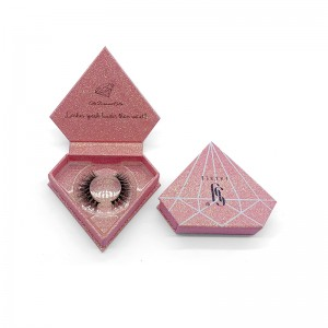 Wig Customize Boxes - custom clear diamond shape eyelash packaging rose gold glitter eyelash box – Knowledge Printing