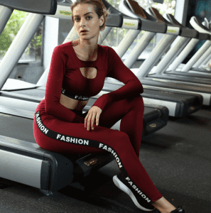 Seamless Yoga Suit Sports Set Gym Clothes Fitness Women Long Sleeve Crop Top High Waist Leggings Ribbed Workout Set Tracksuits