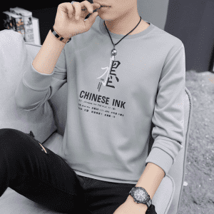OEM Cheap Kid Hoodies Factory - french terry sweatshirt mens fashion printing logo round neck type pullover sweater – Kaishun