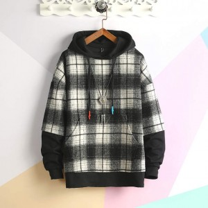 Autumn Winter Hoodies Man Fleece Streetwear Pullover Sweatshirts Women Casual Hooded Coat Tops Hip Hop Plaid Hoodie