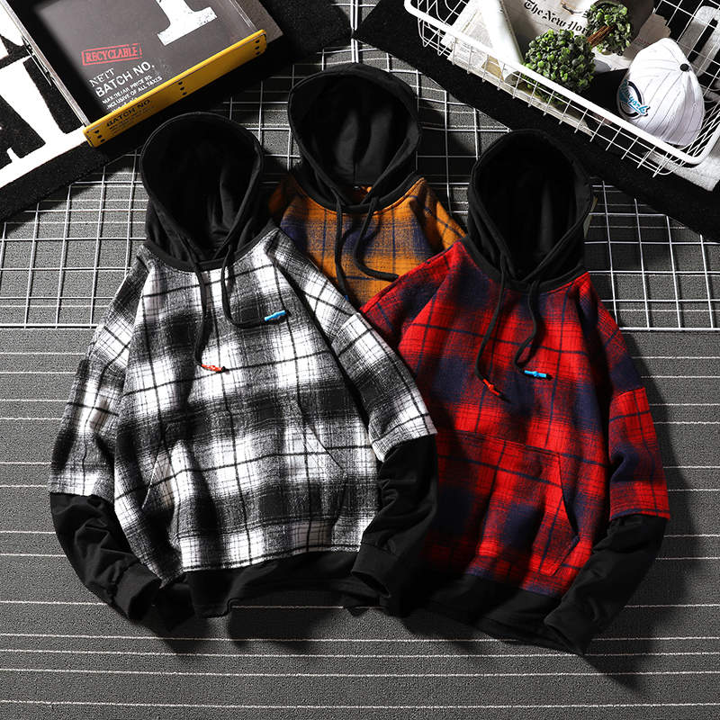 Autumn Winter Hoodies Man Fleece Streetwear Pullover Sweatshirts Women Casual Hooded Coat Tops Hip Hop Plaid Hoodie Featured Image