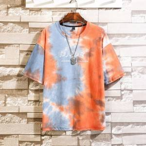 Men Tie Dye Printed Short Sleeve Jersey T Shirt Man Hip Hop New Streetwear Tops Mens Casual Fashion Cotton T-shirt