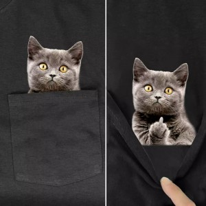 Men's T Shirt Fashion Brand Summer Pocket Despise Cat Printed T-shirt Mens Tee Shirts Hip Hop Tops Funny Cotton T Shirts