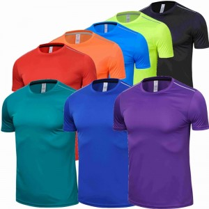 High Quality Spandex Men Women Running T Shirt Quick Dry Fitness Shirt Training Exercise Clothes Gym Sports T-shirt