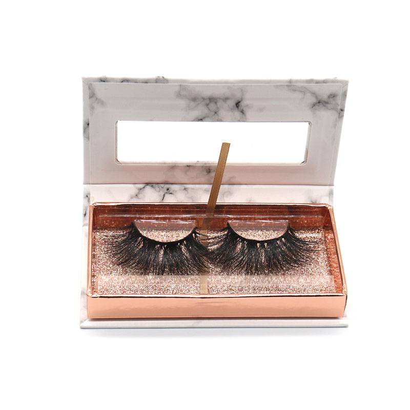 Wholesale Custom Logo Eyelash Packaging Box 25mm Lashes 3D Real Mink Eyelashes