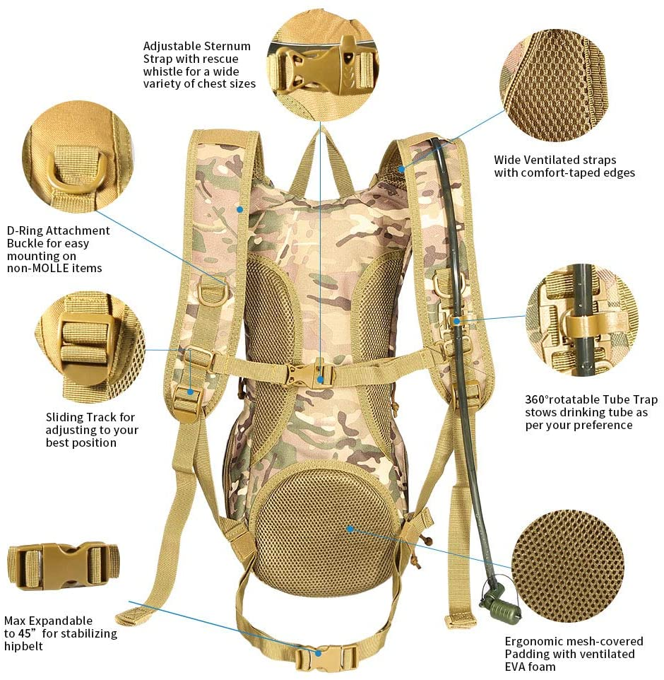 China Wholesale Canvas Tote Bags Manufacturers –  Tactical Hydration Pack with TPU Water Bladder – Kinghow detail pictures