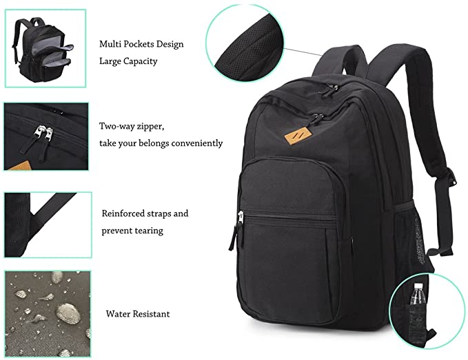 China Wholesale Equipment Bags Exporters –  Black Unisex Cool Travel Laptop Waterproof School Backpack – Kinghow detail pictures