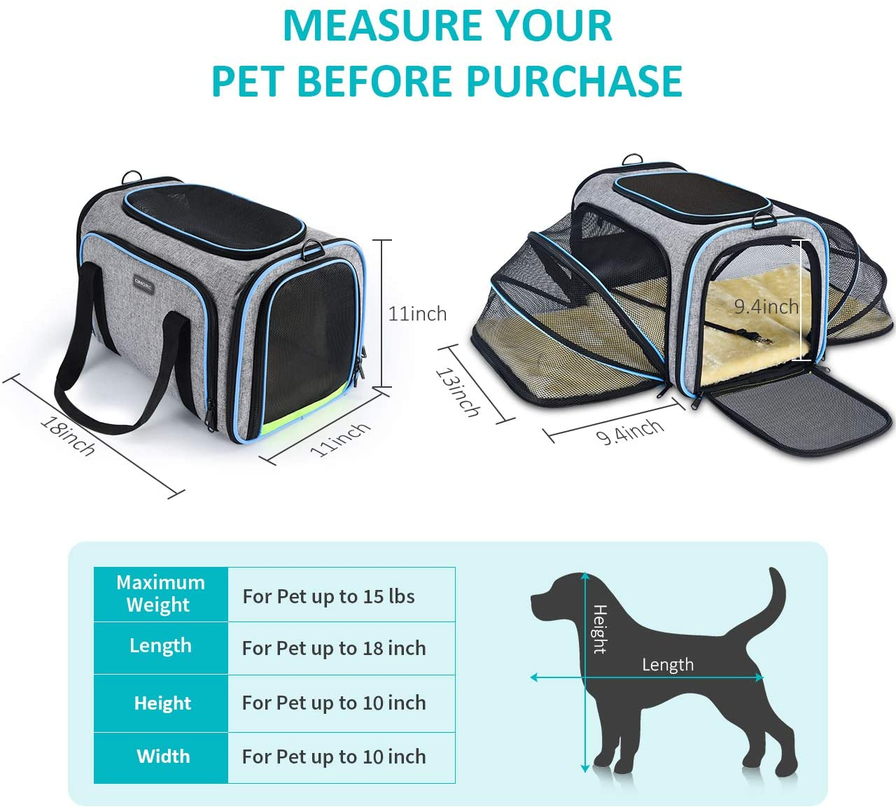 OEM Custom Beach Tent Factory –  Expandable Soft-Sided Dog Carrier – Kinghow