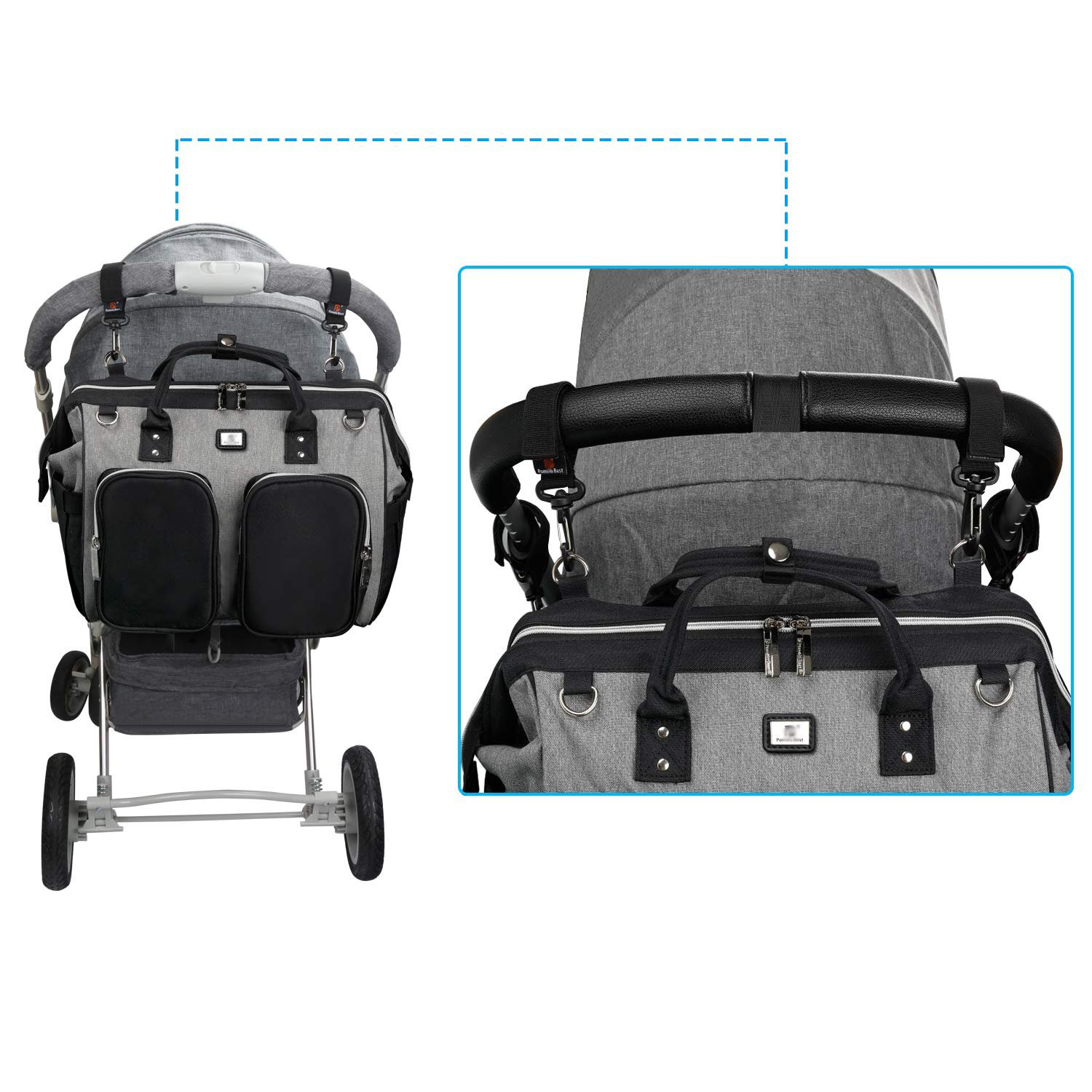 China Wholesale Gym Backpack Factories –  Diaper Bag Tote with Stroller Straps – Kinghow detail pictures