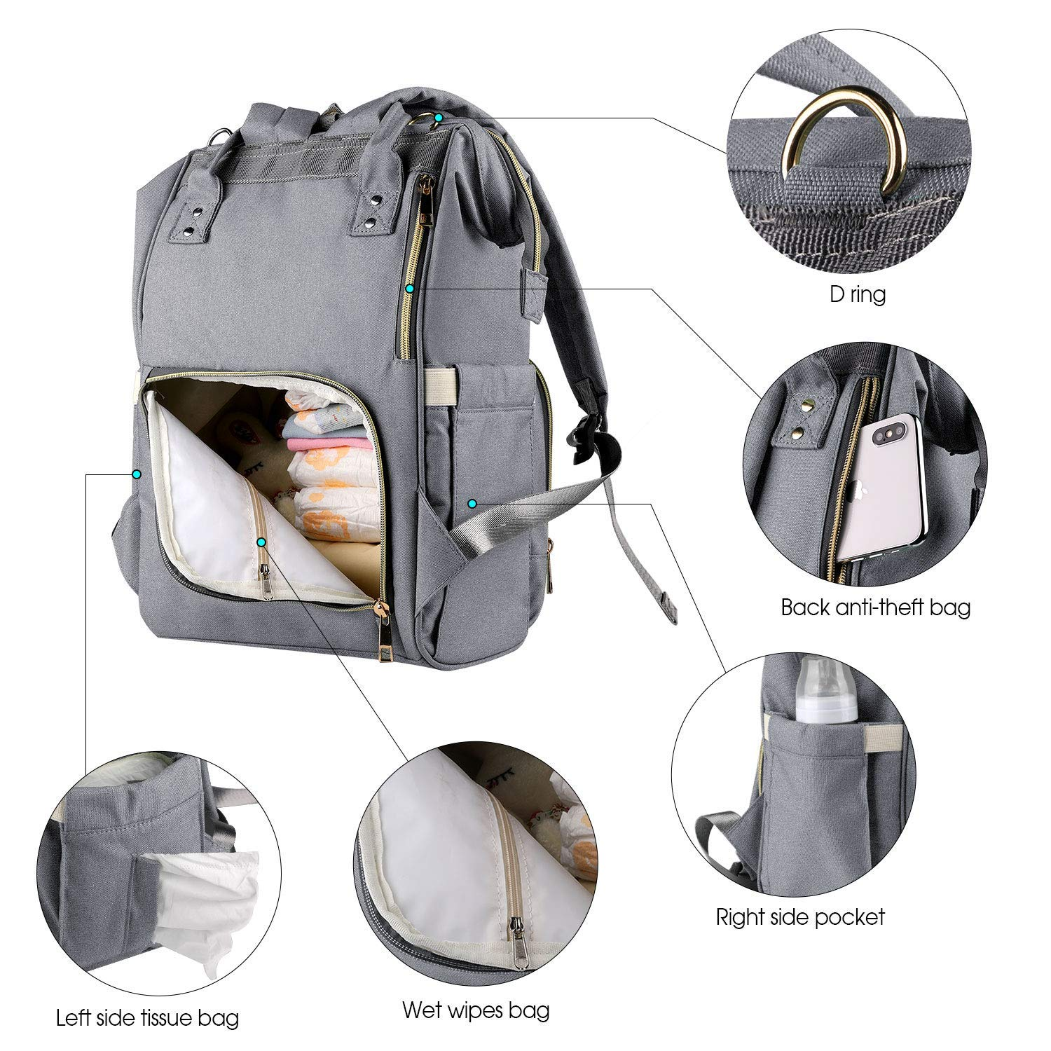 China Wholesale Hiking Backpack Factory –  Baby Diaper Backpack Organizer – Kinghow