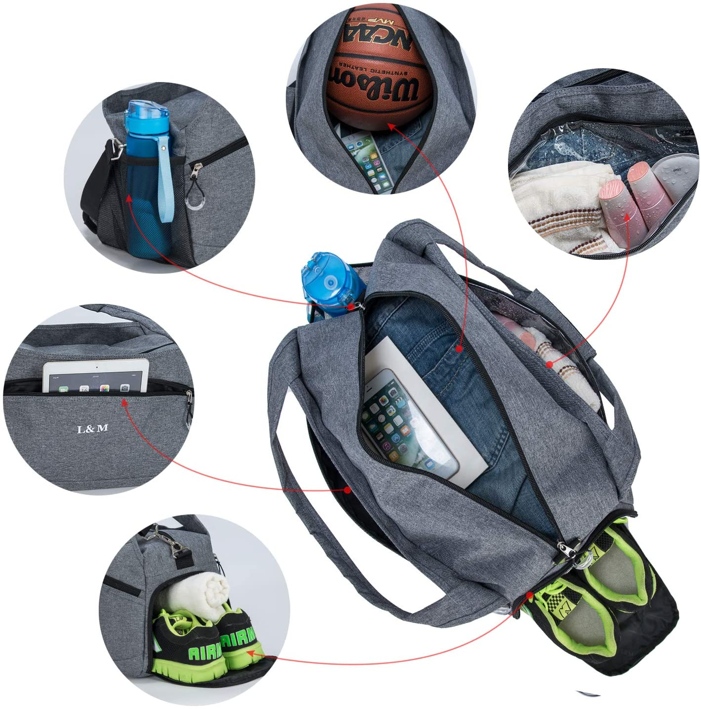 OEM Custom Hiking Fanny Pack Suppliers –  Sports Travel Duffel Bag with Shoes Pocket – Kinghow