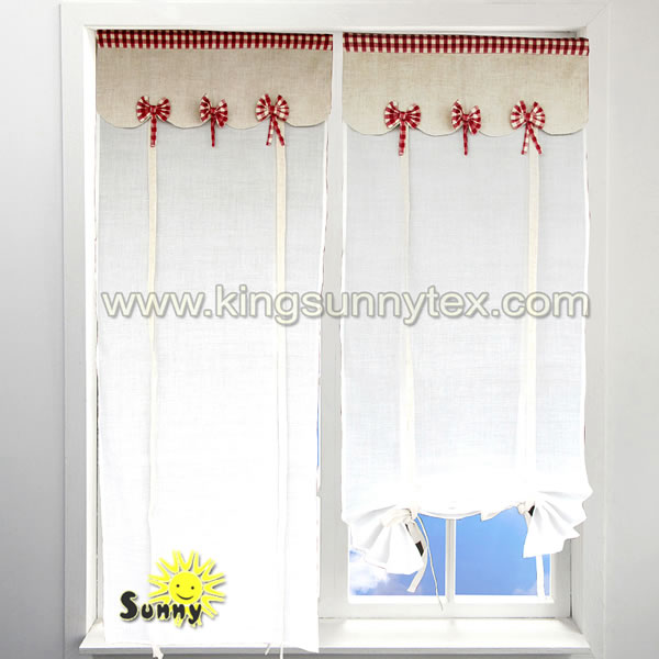 Chinese Curtains Frill With Beige Bow Design For Living Roon
