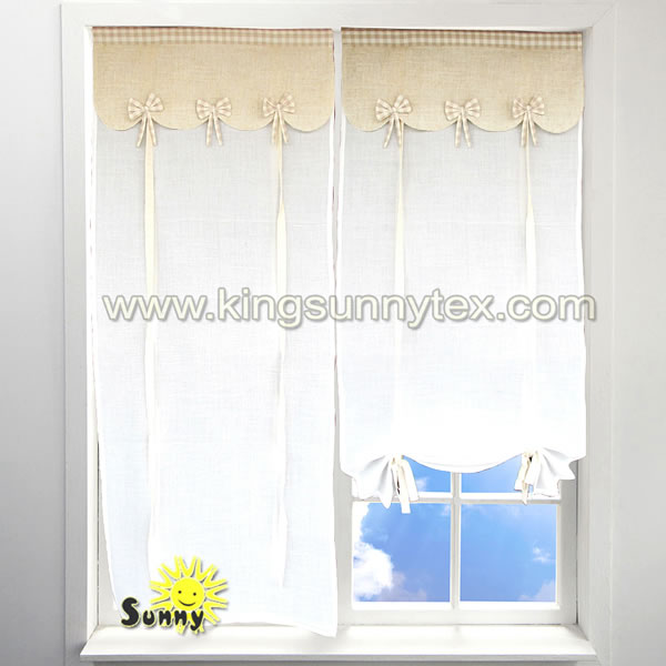 Readymade Curtains With Attached Valance In Red Bow Design