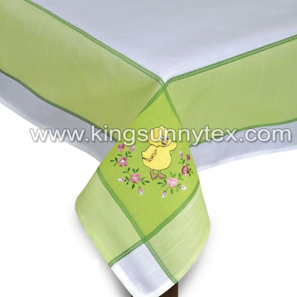 100% Polyester Table Cloth With Embroidery Flower